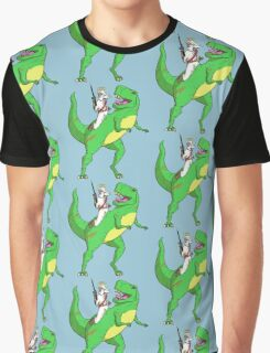 Jesus Riding a Dinosaur Graphic T-Shirt