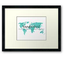 Wanderlust (n) Teal Watercolor World Map Framed Print