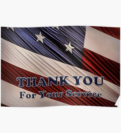 USA Military Veterans Patriotic Flag Thank You Poster