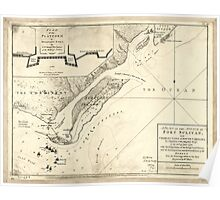American Revolutionary War Era Maps 1750-1786 207 A plan of the attack of Fort Sulivan near Charles Town in South Carolina by a squadron of His Majesty's Poster