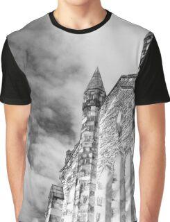 Phantasmagoria ~ Black & White Gothic Church Image  ~ St Mary's Church, Bagillt Graphic T-Shirt