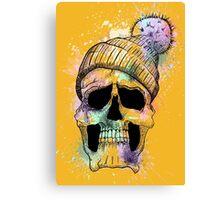 Pastel Skull on Orange Canvas Print