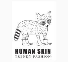 Human Skin Trendy Fashion Racoon / Mapache One Piece - Short Sleeve
