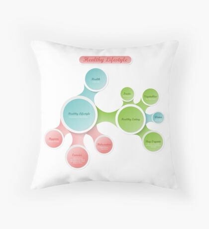 Healthy Lifestyle infographics Throw Pillow