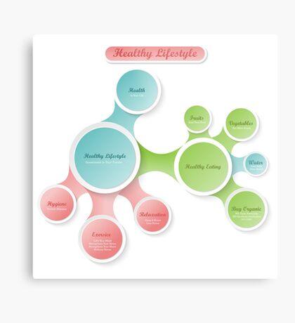 Healthy Lifestyle infographics Metal Print