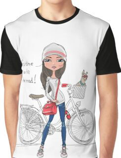 Hipster girl with bike and dog Graphic T-Shirt