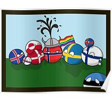 Polandball - Nordic family portrait  Poster
