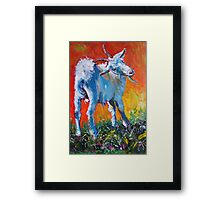 White goat painting - scratching my back Framed Print
