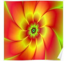 Red Yellow Green and Orange Flower Poster