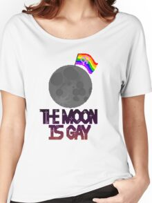 The moon is gay(lesbian flag) Women's Relaxed Fit T-Shirt