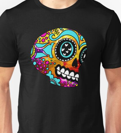 Happy Little Color Splash Sugar Skull Unisex T-Shirt