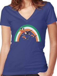 guinness irish rainbow Women's Fitted V-Neck T-Shirt