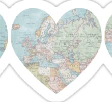 World Map Heart Sticker