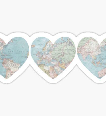 World Map Heart Sticker