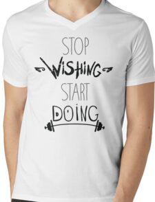 Stop dreaming start doing. Hand driving inspirational poster Mens V-Neck T-Shirt