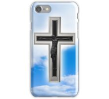 Christian cross at blue sky background iPhone Case/Skin