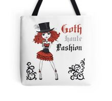 Goth girl in black dress and silk hat Tote Bag