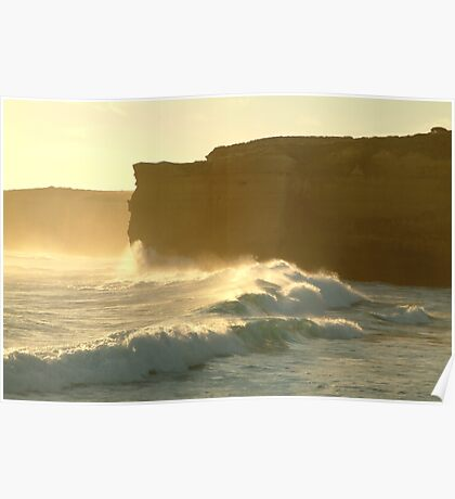 Joe Mortelliti Gallery - Sound and light show at Sherbrooke Beach, near Port Campbell and the Twelve Apostles, Great Ocean Road, Victoria, Australia. Poster