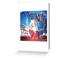 man with crow cartoon style illustration Greeting Card