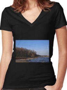 Sunrise Moon Fade Women's Fitted V-Neck T-Shirt