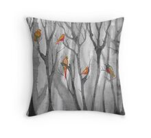 orange birds Throw Pillow