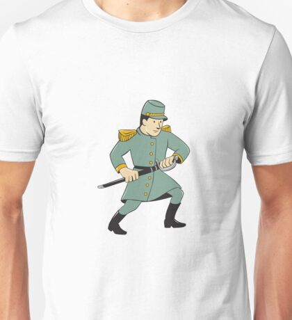 Confederate Army Soldier Drawing Sword Cartoon Unisex T-Shirt
