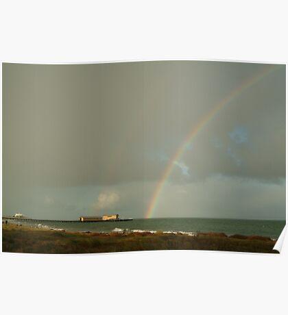 Joe Mortelliti Gallery - Passing storm, Queenscliff pier, Bellarine Peninsula, Victoria, Australia. Poster