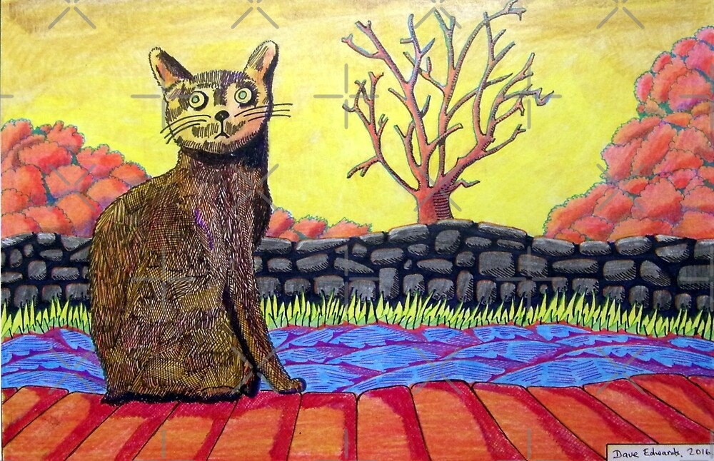 423 - YELLOW CAT - DAVE EDWARDS - COLOURED PENCILS - 2016 by BLYTHART