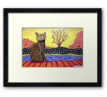 423 - YELLOW CAT - DAVE EDWARDS - COLOURED PENCILS - 2016 Framed Print