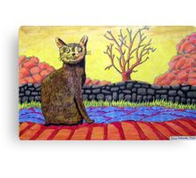 423 - YELLOW CAT - DAVE EDWARDS - COLOURED PENCILS - 2016 Canvas Print