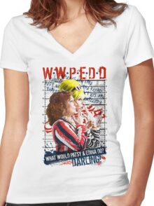 Absolutely Fabulous. AbFab. What Would Patsy and Edina Do, Darling? WWPEDD.  Women's Fitted V-Neck T-Shirt
