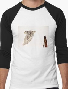 Snowy Owl In Flight Men's Baseball ¾ T-Shirt