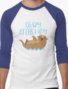 Crazy OTTER lady (new swimming) Men's Baseball ¾ T-Shirt