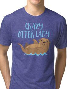 Crazy OTTER lady (new swimming) Tri-blend T-Shirt