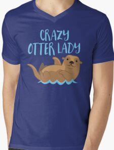 Crazy OTTER lady (new swimming) Mens V-Neck T-Shirt