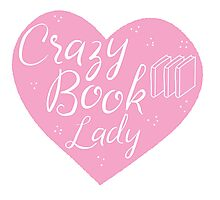 CRAZY BOOK LADY in pink heart Photographic Print