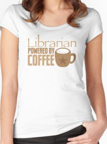 Librarian powered by Coffee Women's Fitted Scoop T-Shirt