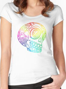 Rainbow Lines Sugar Skull in Love Women's Fitted Scoop T-Shirt