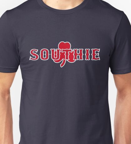 Southie (red on navy) Unisex T-Shirt