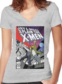 Jay and Miles X-Plain the X-Men Women's Fitted V-Neck T-Shirt