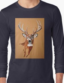 White-tailed Deer Buck by Dennis Dalton Long Sleeve T-Shirt