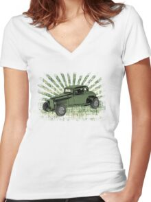 1932 Ford Coupe Hot Rod  Women's Fitted V-Neck T-Shirt