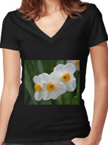 Three Miniature Daffodils Women's Fitted V-Neck T-Shirt