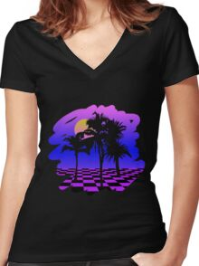 Eighties Technicolor Dreams Women's Fitted V-Neck T-Shirt