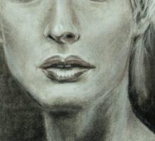 Girl portrait Women's feelings. Charcoal on paper. Size: 63x42cm Sticker