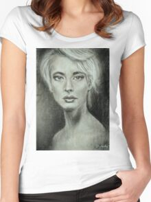 Girl portrait Women's feelings. Charcoal on paper. Size: 63x42cm Women's Fitted Scoop T-Shirt