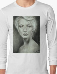 Girl portrait Women's feelings. Charcoal on paper. Size: 63x42cm Long Sleeve T-Shirt