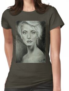 Girl portrait Women's feelings. Charcoal on paper. Size: 63x42cm Womens Fitted T-Shirt