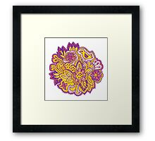 Purple and yellow flower pattern Framed Print
