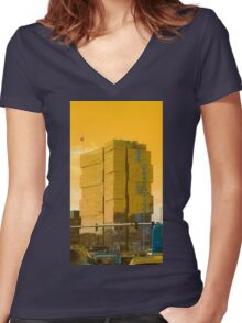 Squares Gone Wild Women's Fitted V-Neck T-Shirt